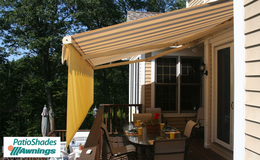 awnings motorized protective hood with awning retractable retracted